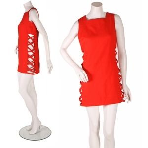 1960s Red Cut Out Open Sides Mod Mini Dress